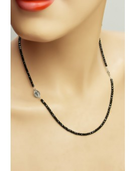 Onyx Necklace with Crucifix and Miraculous Medal