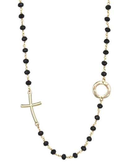Crystal Necklace with design Crucifix and center - White - Metal Gold