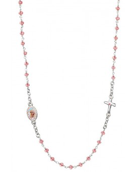 Crystal  Necklace with Crucifix with strass -Pink - Metal Silver