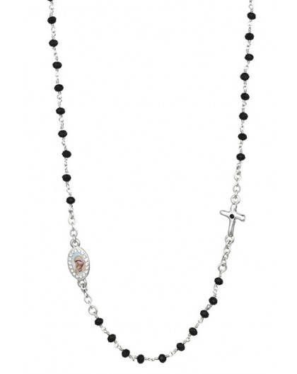 Crystal  Necklace with Crucifix with strass - Black - Metal Silver
