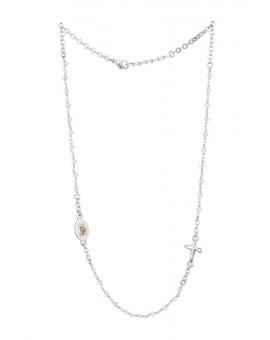 Crystal  Necklace with Crucifix with strass - Clear Crystal - Metal Silver