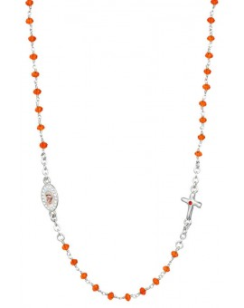 Crystal  Necklace with Crucifix with strass - Orange - Metal Silver