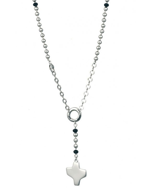 Silver metal Rosary Necklace - Black Paters