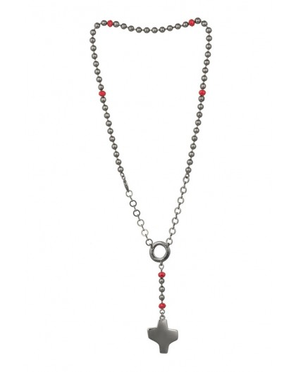 Dark metal Rosary Necklace - Red Paters