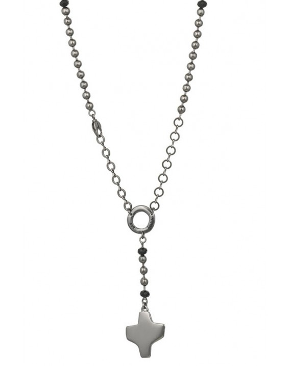 Dark metal Rosary Necklace - Black Paters