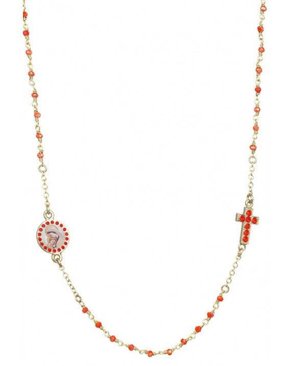 Crystal  Necklace with Crucifix with strass - Orange - Metal Gold