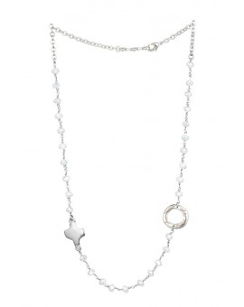 Crystal  Necklace with Design Crucifix - White - Metal silver