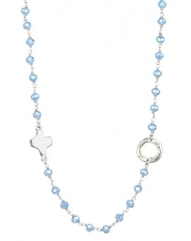 Crystal  Necklace with Design Crucifix - Light Blue - Metal silver