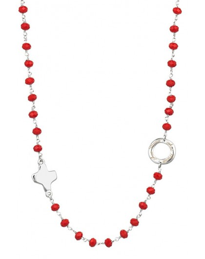 Crystal  Necklace with Design Crucifix - Red - Metal silver