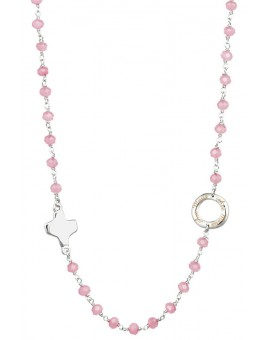 Crystal  Necklace with Design Crucifix - Pink  - Metal silver