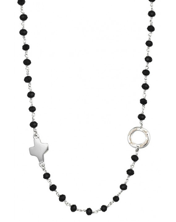 Crystal  Necklace with Design Crucifix - Black - Metal silver