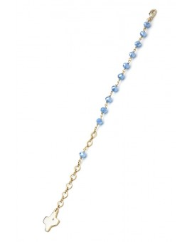 Crystal Bracelet - Light Blue - Metal Gold