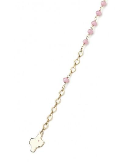 Crystal Bracelet - Pink - Metal Gold