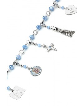 Charms Crystal Bracelet - Light Blue - Metal Gold