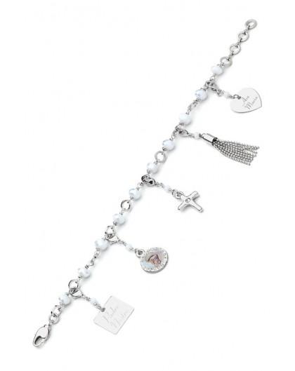 Charms Crystal Bracelet - White - Metal Silver