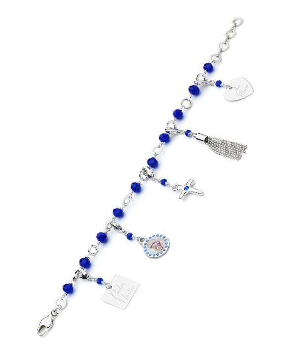 Charms Crystal Bracelet - Blue - Metal Silver