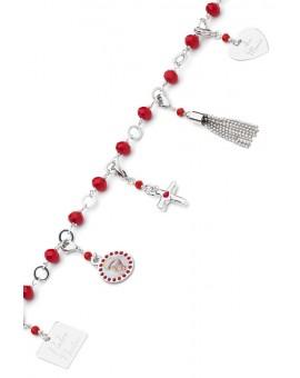 Charms Crystal Bracelet - Red - Metal Silver