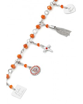 Charms Crystal Bracelet - Orange - Metal Silver