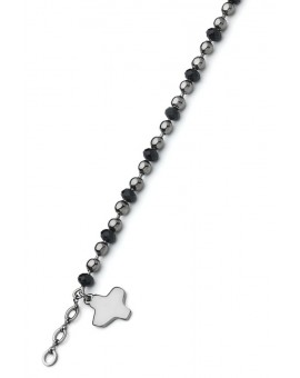 Crystal and dark metal beads Bracelet - Black