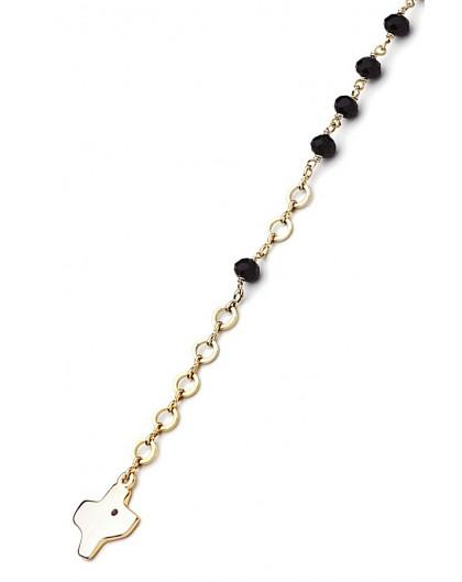 Crystal Bracelet - Black - Metal Gold