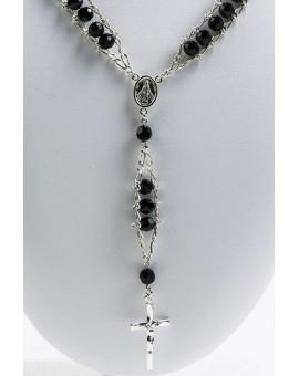 Double Chain Swarowski Black Crystal Rosary Necklace