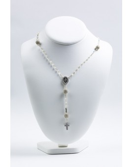Clear Zircons Rosary Necklace