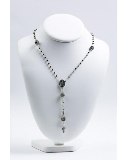 Black Zircons Rosary Necklace