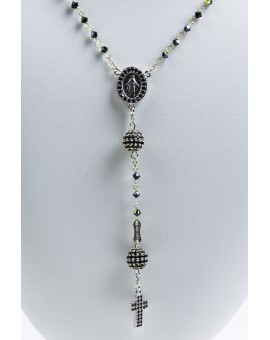 Black Zircons Rosary Necklace