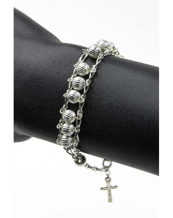 Double Chain All Silver Rosary  Bracelet