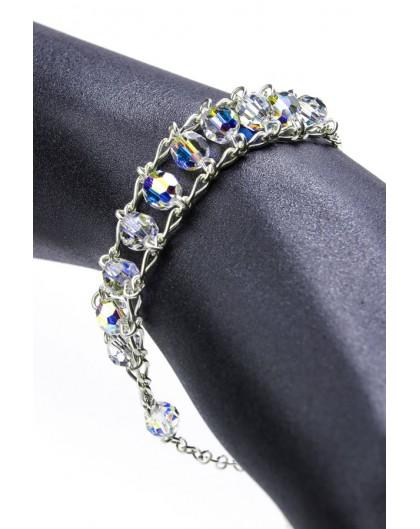 Double Chain Swarowski Clear Crystal Rosary Bracelet