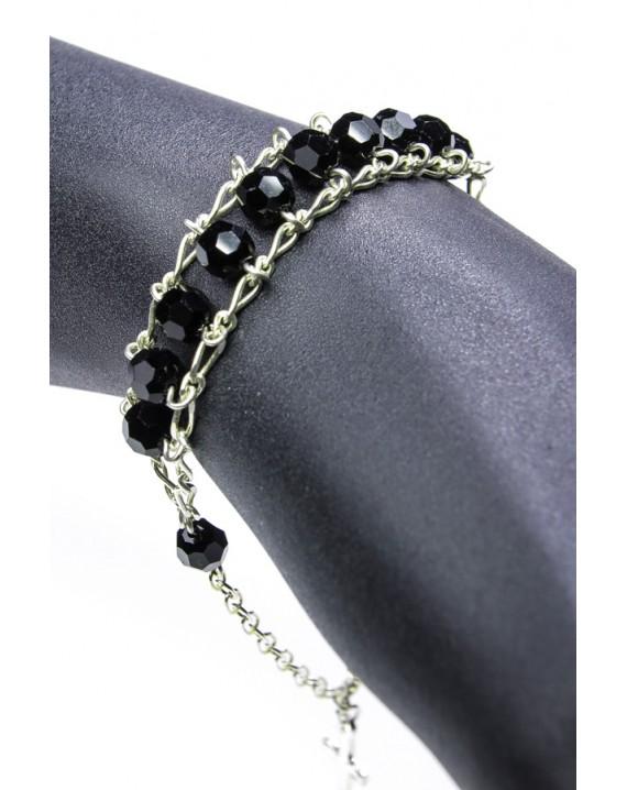 Double Chain Swarowski Black Crystal Rosary Bracelet