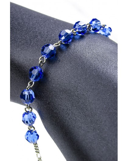 Swarovski Crystal Circle Rosary Bracelet Light Blue