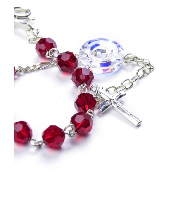 Swarovski Crystal Circle Rosary Bracelet Red