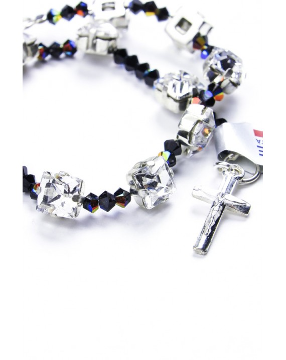 Black Swarovski Crystal on silver mount Bracelet
