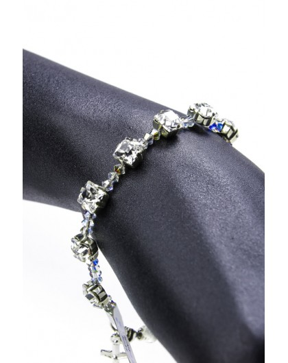 Clear Swarovski Crystal on silver mount Bracelet