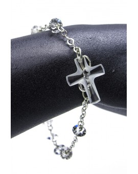 Light Crucifix Swarovski Crystal Rosary Bracelet