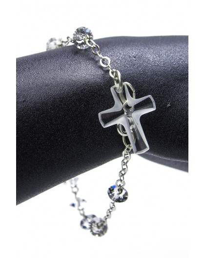 Light Crucifix Swarovski Crystal Rosary Bracelet