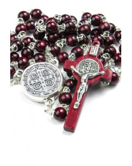Mini St Benedict dark red wooden Rosary  necklace