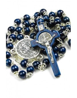 Mini St Benedict blue wooden Rosary necklace