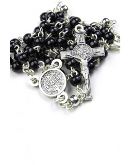 Mini St Benedict black wood and metal Rosary necklace