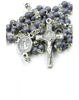 Mini St Benedict gray wood and metal Rosary necklace