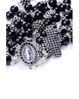 Black Onyx and Zircons Sterling Silver Rosary