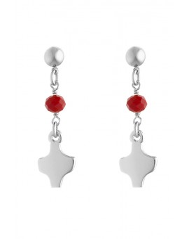 Silver Red Crystal Earrings