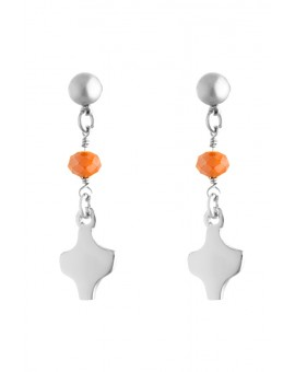 Silver Orange Crystal Earrings