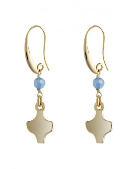 Gold Sky Blue Crystal Earrings