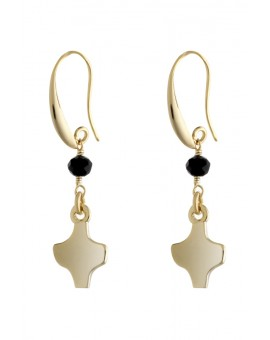 Gold Black Crystal Earrings