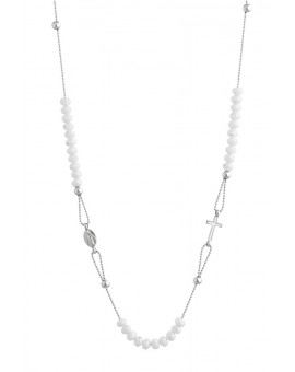 Crystal  Necklace with Enamelled Crucifix  and Miracolous Medal - White - Metal silver