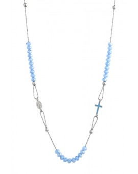 Crystal  Necklace with Enamelled Crucifix  and Miracolous Medal - Sky Blue - Metal silver