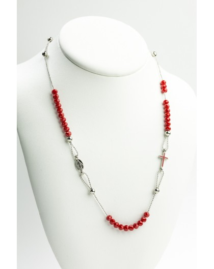 Crystal  Necklace with Enamelled Crucifix  and Miracolous Medal - Red - Metal silver