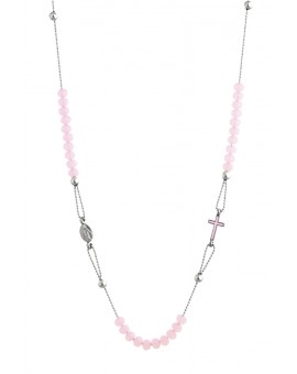 Crystal  Necklace with Enamelled Crucifix  and Miracolous Medal - Pink - Metal silver